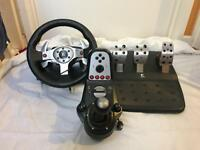 Logitech G25 Steering wheel, pedals and gear stick