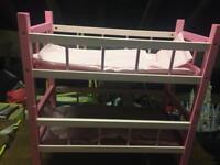 Dolls wooden bunk beds