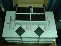 24 NEW BOXES of VICTORIAN GEOMETRIC FLOOR TILES by ORIGINAL STYLE Co. BLACK SQUARE 6302V (No Offers)