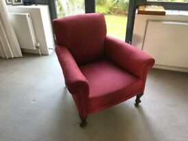 Superb Raspberry Red Brocade Armchairs - Pair