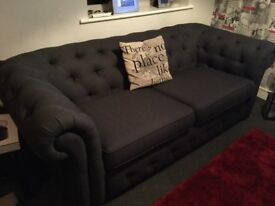3 month old chesterfield fabric sofa . Perfect condition, from smoke & pet free home