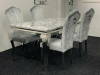 Louis Grey marble dining table + 4 crush velvet chairs