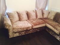 Crushed velvet L shaped sofa