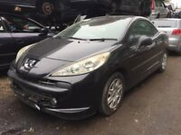 07 PEUGEOT 207 GT CC 1.6 EP6 (5WF) CONVERTIBLE BLACK BREAKING FOR SPARES