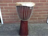 Large African Wooden Tribal Congo Drum - Skin Top - Coffee Table