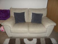 Milano Leather 2 seater sofa / settee in Ivory