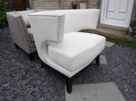 Designer Armchair - ex show home - off white with studs
