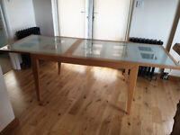 kitchen table extendable with glass top