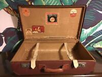 Vintage Leather canvas Hard Suitcase Luggage