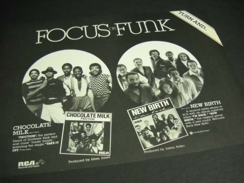 FOCUS ON FUNK Chocolate Milk and New Birth original 1982 PROMO POSTER AD mint