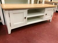 NEXT DAY DELIVERY New oak and ivory Large TV unit £229