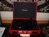 Vinyl Record Player in Red (Crosley Retro Briefcase Style)