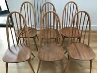 6 Ercol Beech Ercol dining chairs for sale