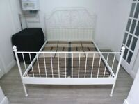 IKEA LEIRVIK STANDARD KING SIZE WHITE METAL BED FRAME >>>>>>>>>>>>..............