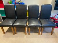 Solid oak scroll back rustic black leather dining chairs - set of 4