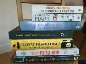 Hard back books, VGC. Radio 4 Desert Island Discs CD , Sharma Alsop Marr Johnson