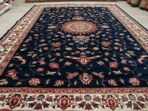 Awesome Blue Medallion Floral Oriental Hand Knotted Area Rug Wool Silk Carpet (10 x 7)'