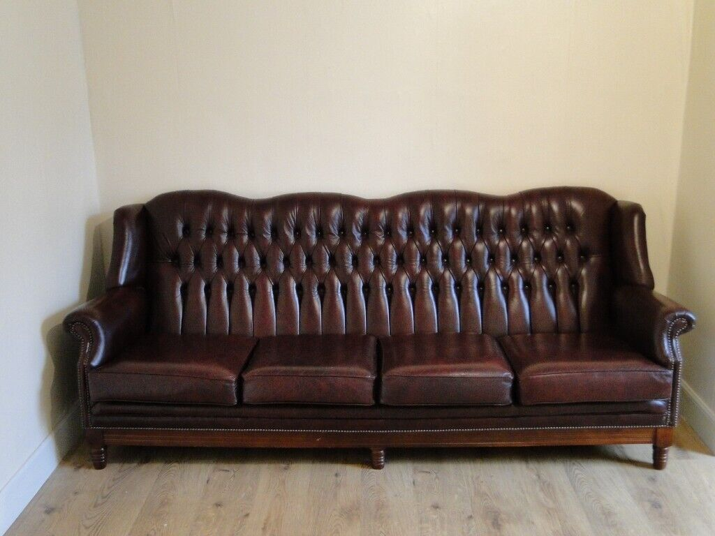 Chesterfield Sofa Four Seats Red Leather High Back Excellent Condition In Dundee Gumtree