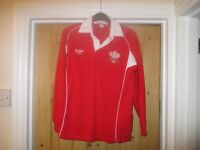 WALES RUGBY SHIRT BY COTTON TRADERS RED SIZE LB