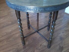 Oak and brass table