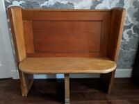 Two-seater antique pine church pew