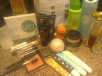 A selection of cosmetics, perfumes and makeup. Teeth whitening kit, after sun.eye lifting serum.