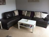Leather sofa corner group and reclining chair