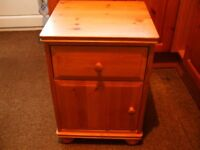 Small Pine colour bedside table/cabinet - used