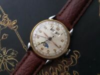 Very Rare Vintage Moon phase Triple date mens watch