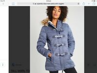 LADIES SUPERDRY COAT BLUE MARL PUFFER TOGGLE FASTENING LONG PARKA SHERPA FLEECE LINED. BNWT