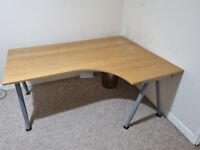 Large wood top corner desk