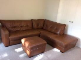 DFS brown leather sofa and footstool **need gone asap**