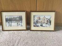Pair of Original Watercolours by Ben Harris local Welsh Artist