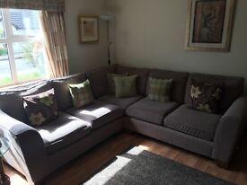 Brown fabric large corner sofa and armchair