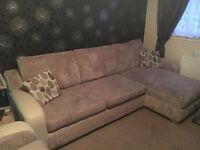 Corner sofa-bed, with chair and pouffe