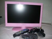 "18.5"". Flat Screen Pink TV/DVD with Built in Freeview"