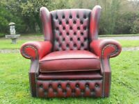 Chesterfield Oxblood Red Leather Wing-Back Chair