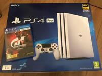 White PS4 PRO 1TB 4K only 4 months old with GT SPORT + Original Receipt and warranty