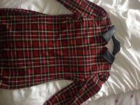 Tartan bodycon dress with leather collar