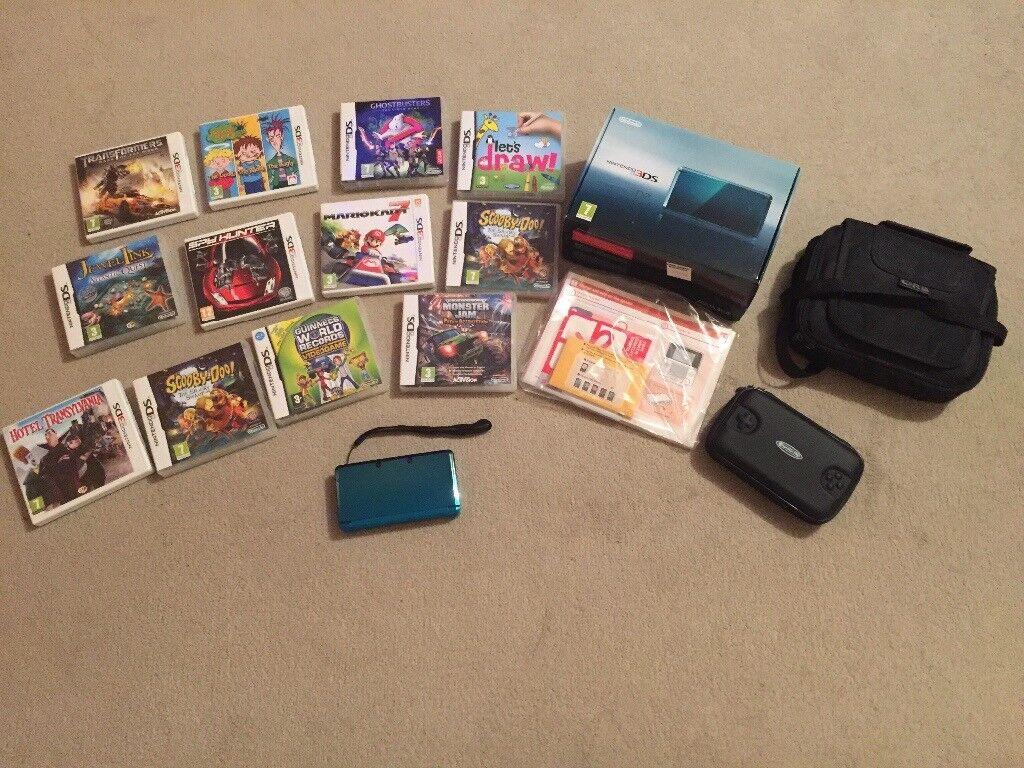 Nintendo 3DS aqua blue bundle