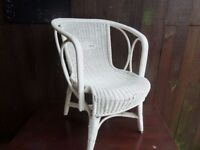 White Wicker Arm Chair Delivery Available £8