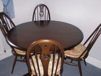 Ercol dark wood dining furniture