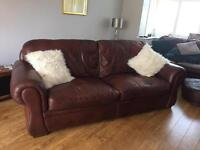 Brown leather 3-4 seater sofa
