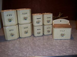 Vintage Cannister Set with Salt Box