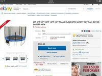 Brand new 12ft trampoline in box with safety net ladder rain cover