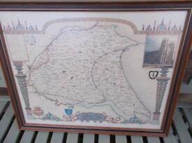 Vintage framed map of Yorkshire