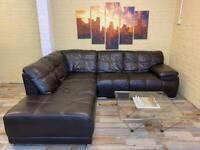Awesome Brown Leather Corner Sofa