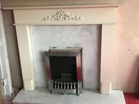 Fire place in perfect condition grey marble surrounding and a silver gas fire bargain price £99