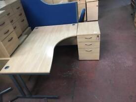 1600mm Curved Desk & Side Pedstals
