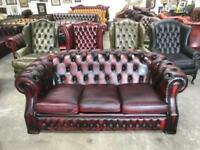Stunning oxblood leather chesterfield 3 seater hump back sofa UK delivery